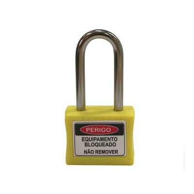 Cadeado para Bloqueio 35mm com Haste Longa 50mm Amarelo Papaiz