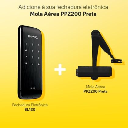 Combo Fechadura Digital Smart Lock de Sobrepor SL120 com Mola Aérea para Porta Ppz200 Preto Papaiz
