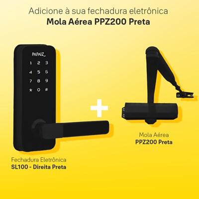 Combo Fechadura Digital Smart Lock Direita SL100 com Mola Aérea para Porta Ppz200 Preta Papaiz