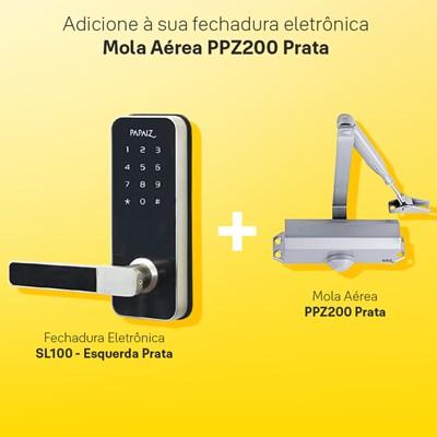 Combo Fechadura Digital Smart Lock Esquerda SL100 com Mola Aérea para Porta Ppz200 Prata Papaiz