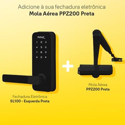 Combo Fechadura Digital Smart Lock Esquerda SL100 com Mola Aérea para Porta Ppz200 Preta Papaiz