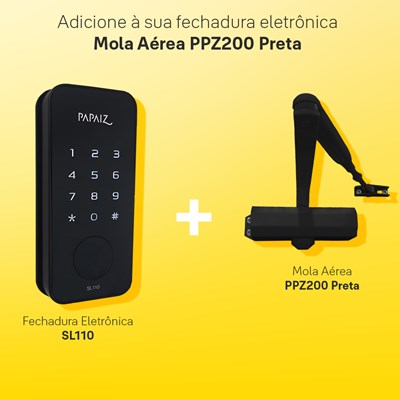 Combo Fechadura Digital Smart Lock Sem Maçaneta SL110 com Mola Aérea para Porta Ppz200 Preto Papaiz