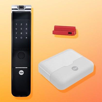 COMBO - Fechadura Digital YMF 40A RL abre com Biometria e Senha - Trinco Rolete