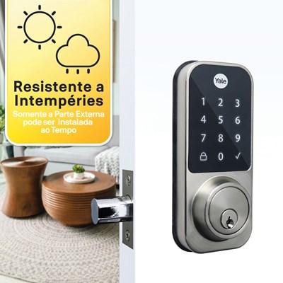 Fechadura Digital YDD 120 para porta Externa com Senha e chave - Trinco Lingueta Tubular