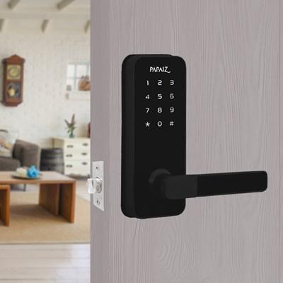 Fechadura Eletrônica Smart Lock Embutida Preta Direita SL100 Papaiz