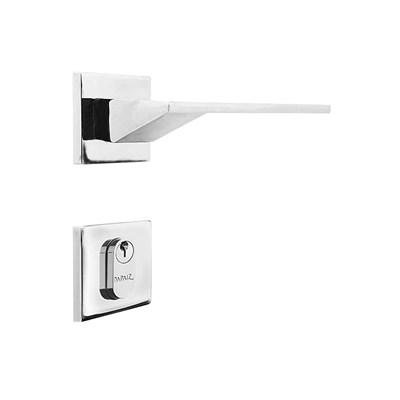 Fechadura para Porta de Entrada Cromado 55mm com Roseta MZ940 Design Papaiz