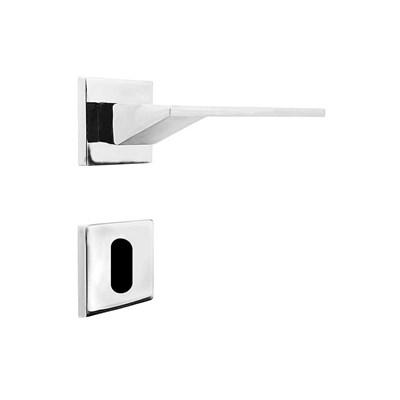 Fechadura para Porta Interna Cromada 55mm com Roseta MZ940 Design Papaiz